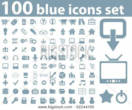 100 blue office icons set.vector