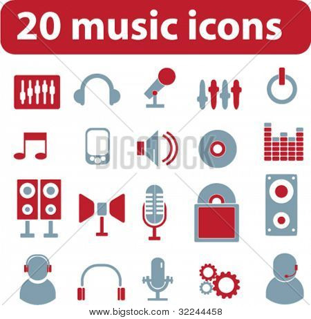 20 music signs.vector. red-blue series.