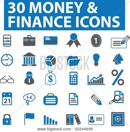 30 iconos de dinero & finanzas. serie azul. Vector. Ver más en mi portafolio.