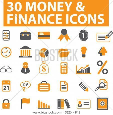 30 money & finance icons. vector. orange series.