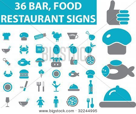 36 restaurant, bar, food signs. vector. blue series.