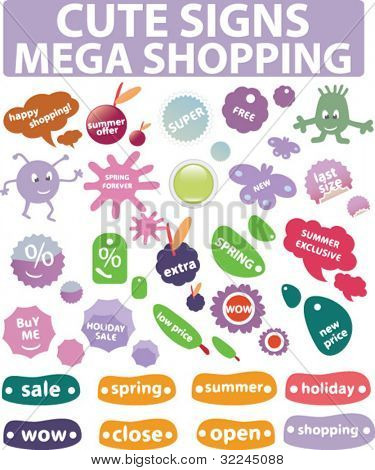 mega shopping - cute signs.vector