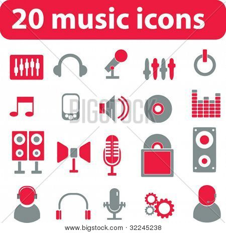 20 music icons. vector. red