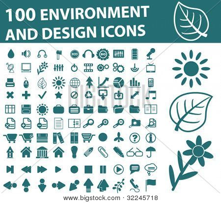100 environment and design icons. vector