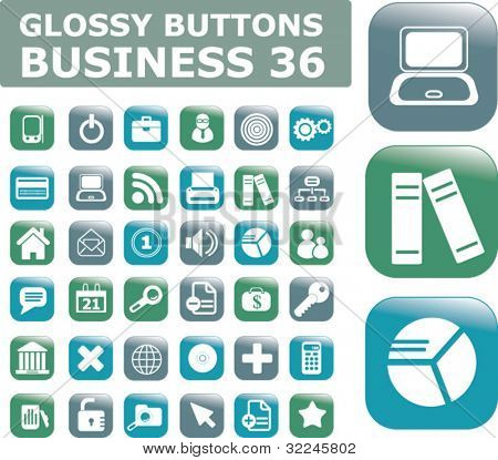 35 glossy business buttons. vector