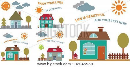cute cards with family houses. vector
