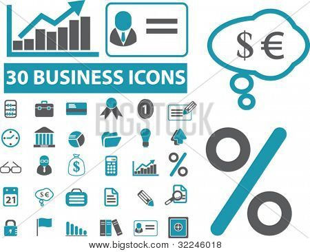 30 classic business icons. vector