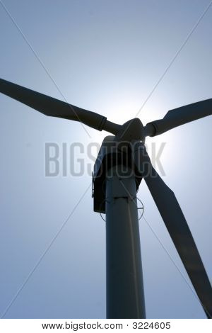 Wind Turbine Against Sunlight