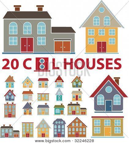 20 hübsch Familienhäuser. Vektor