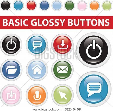 basic glossy buttons. vector