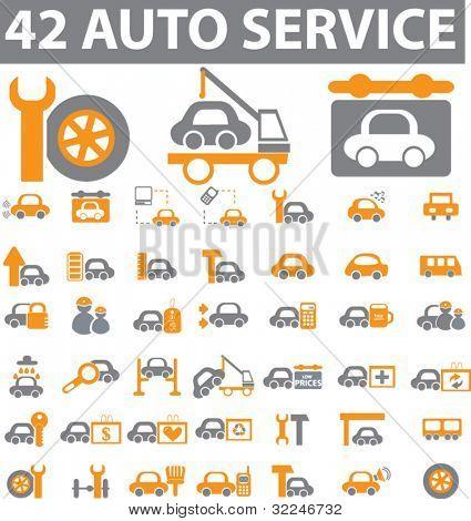 42 auto service icons. vector