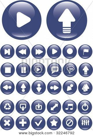 30 media buttons. vector