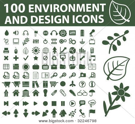 100 environment, design icons. vector