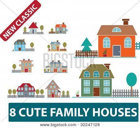 8 süße Familienhäuser. Vektor