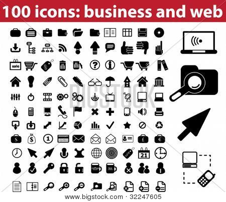 100 standard icons. vector