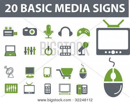 20 media signs. vector