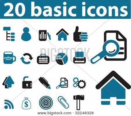 20 basic icons. vector