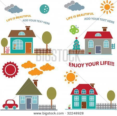 4 cute family home cards. vector