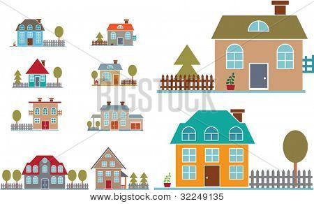 8 family houses. vector