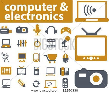 computer & electronics signs. vector