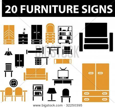 20 furniture signs. vector