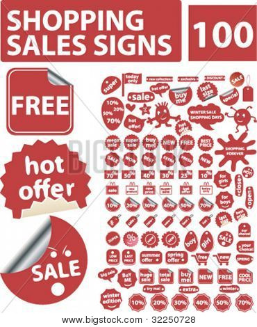 100 shopping sales signs. vector