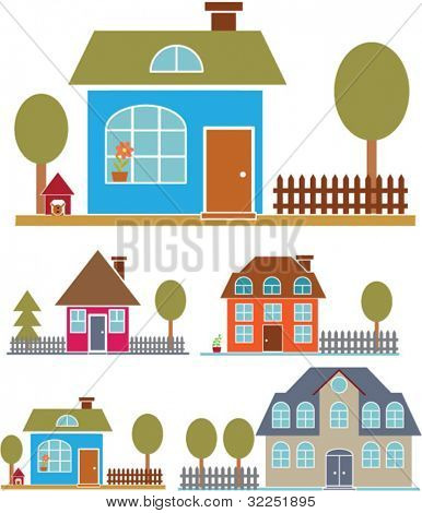 4 cute family houses # 2. vector