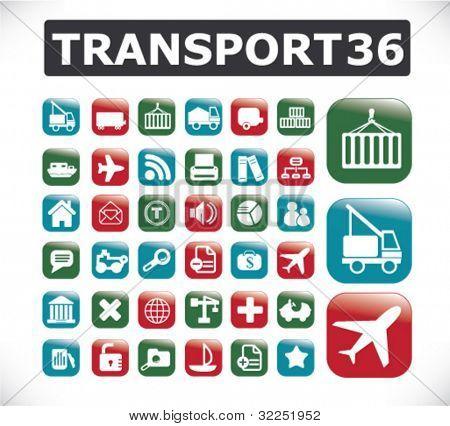 36 transport business buttons. vector