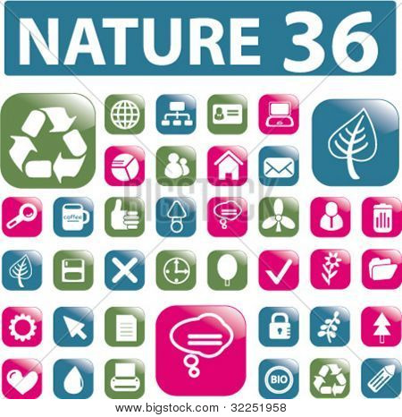 36 nature color glossy buttons. vector