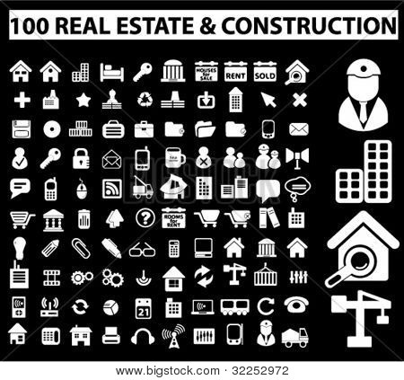 100 real estate & construction white signs. vector