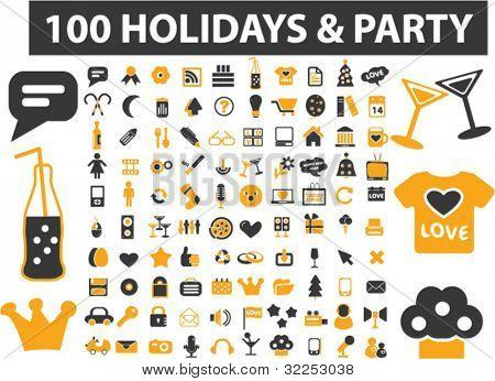 100 vacaciones & signos de partido. Vector