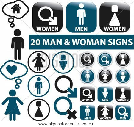 20 man & woman signs. vector