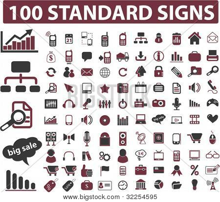 100 standard signs. vector