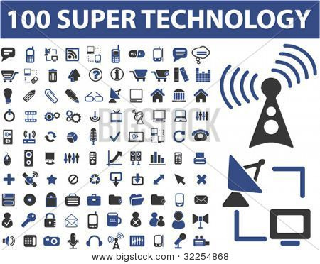 100 super technology signs. vector