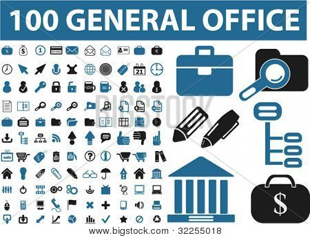 100 general office signs. vector