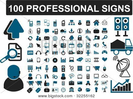 100 professional signs. vector