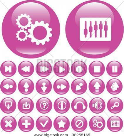 30 cute media glossy buttons. vector
