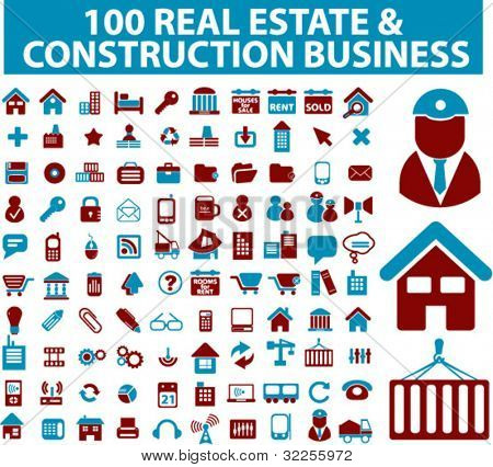 100 real estate, construction signs. vector