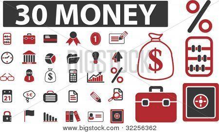 30 money & presentation signs. vector