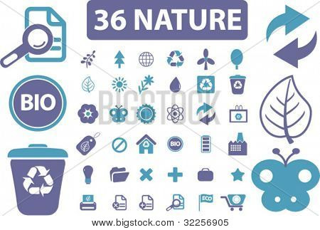 36 pro nature & environment signs. vector