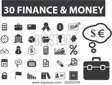 30 finance & money signs. vector