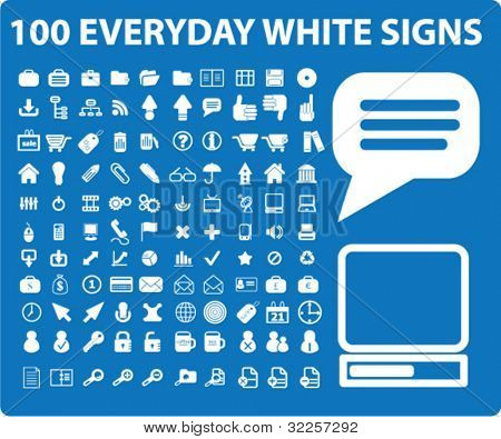 100 white everyday signs. vector