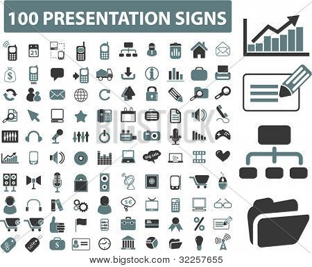 100 presentation signs. vector