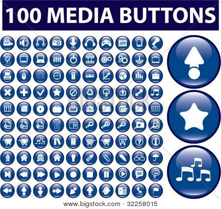 100 cute media buttons. vector