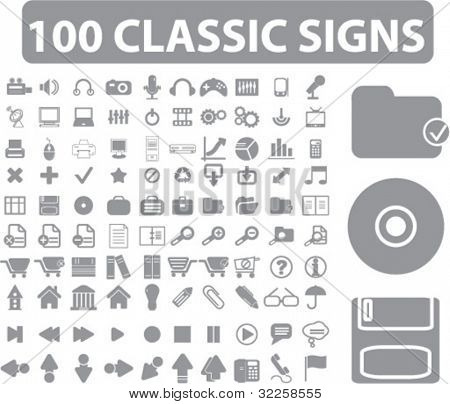 100 classic signs. vector