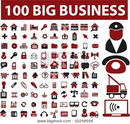 100 big business signs. vector