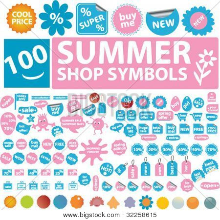100 summer shop symbols. vector
