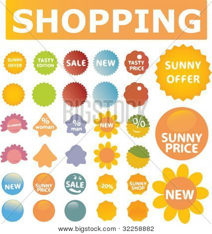 summer cute shopping stickers. vector