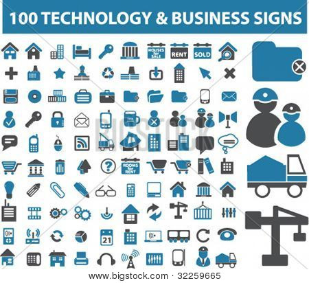 100 technology & business signs. vector