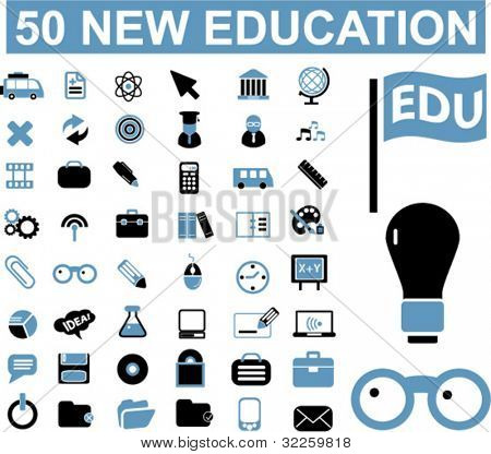 50 new education signs. vector